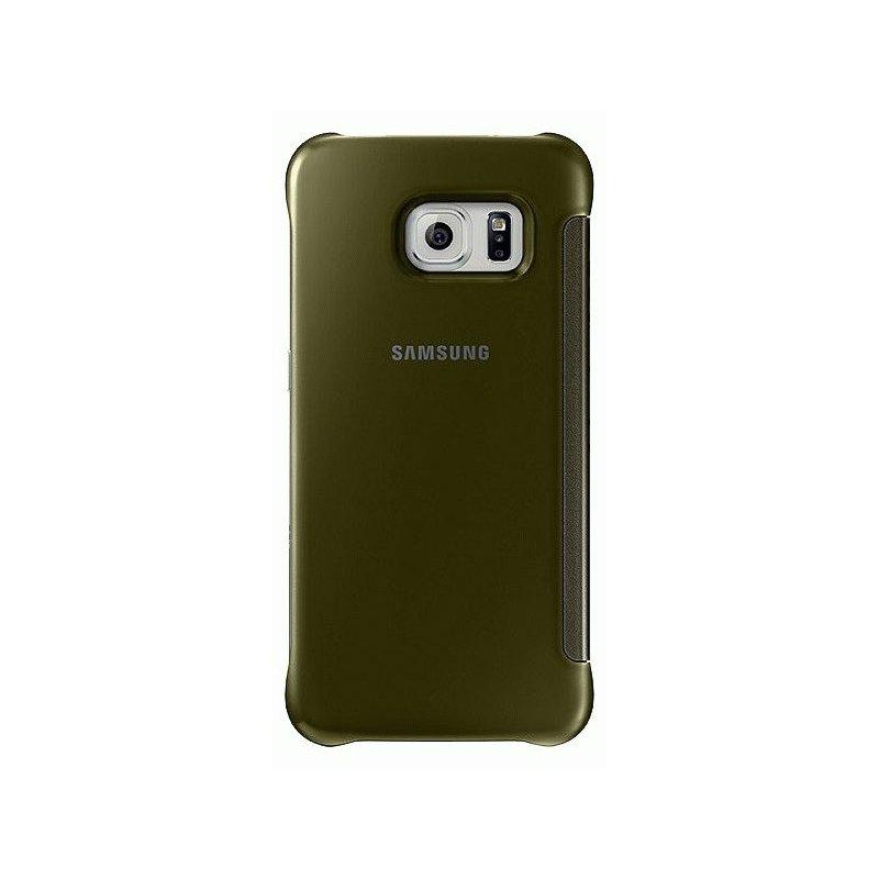 Оригинальный чехол Clear View Cover для Samsung Galaxy S6 Edge G925F Gold (EF-ZG925BFEGRU)