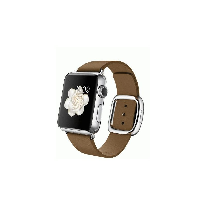 Apple Watch 38mm Stainless Steel Case with Brown Modern Buckle Size S (MJ3A2LL/A)