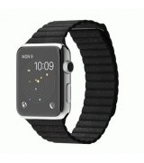 Apple Watch 42mm Stainless Steel Case with Black Leather Loop Size M (MJYN2)