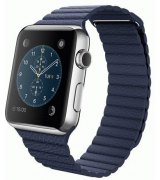 Apple Watch 42mm Stainless Steel Case with Bright Blue Leather Loop Size M (MJ452)