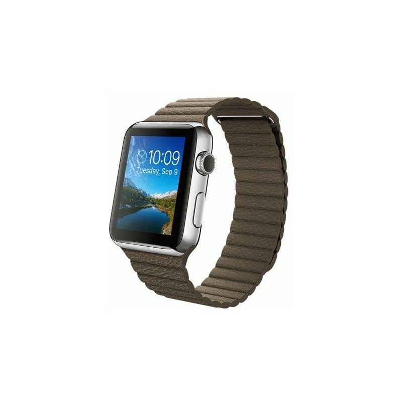 Apple Watch 42mm Stainless Steel Case with Light Brown Leather Loop Size M (MJ402LL/A)
