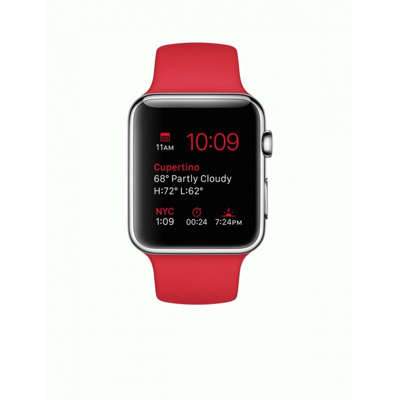 Apple Watch 42mm Stainless Steel Case with Red Sport Band (MLLE2)