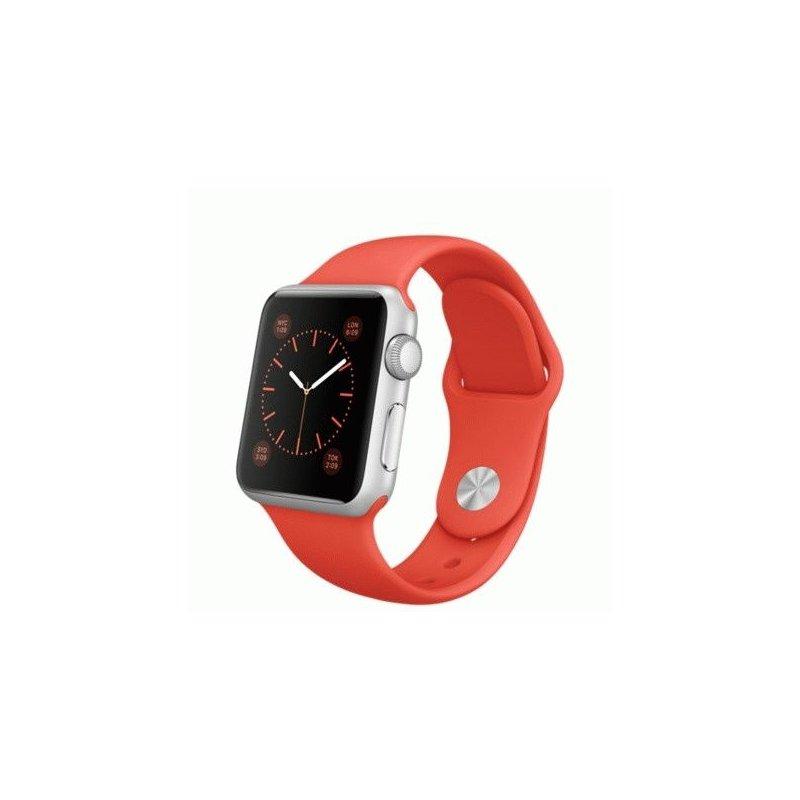 Apple Watch Sport 38mm Silver Aluminum Case with Orange Sport Band (MLCF2)