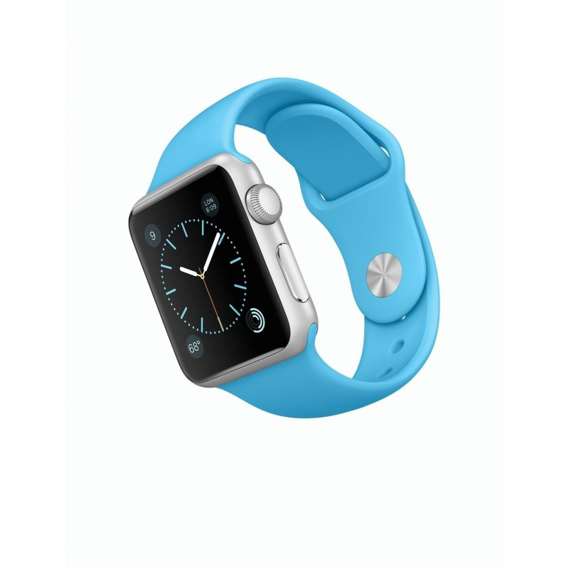 Apple Watch Sport 38mm Silver Aluminum Case with Blue Sport Band (MLCG2)