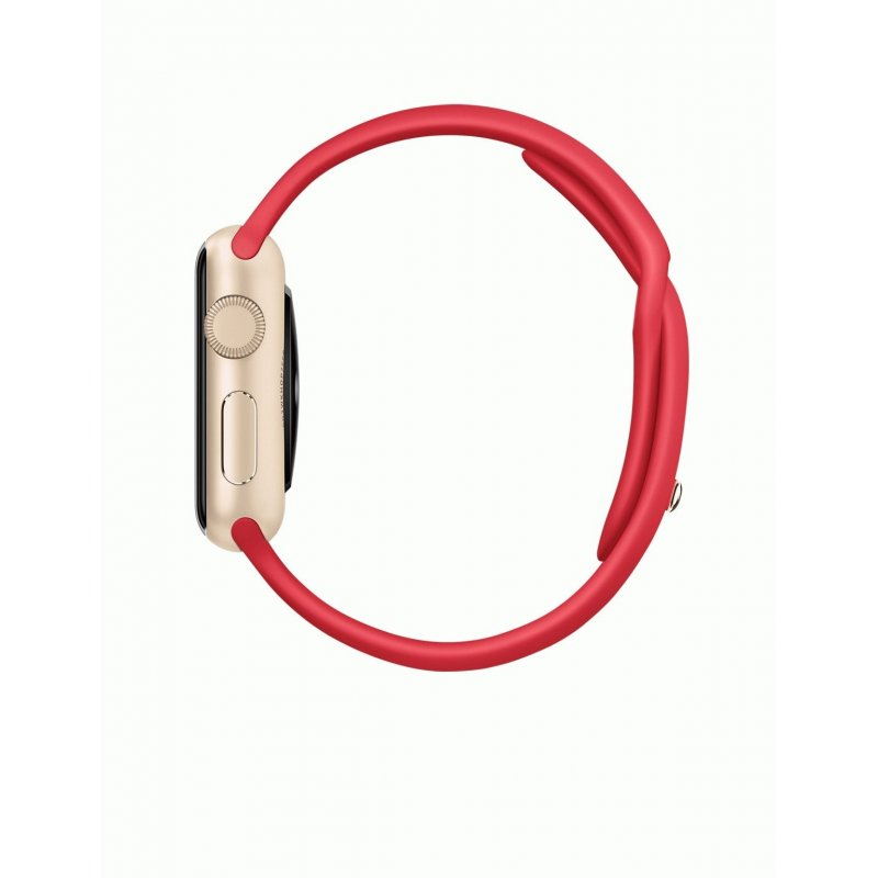 Apple Watch Sport 38mm Gold Aluminum Case with Red Sport Band (MMEC2)