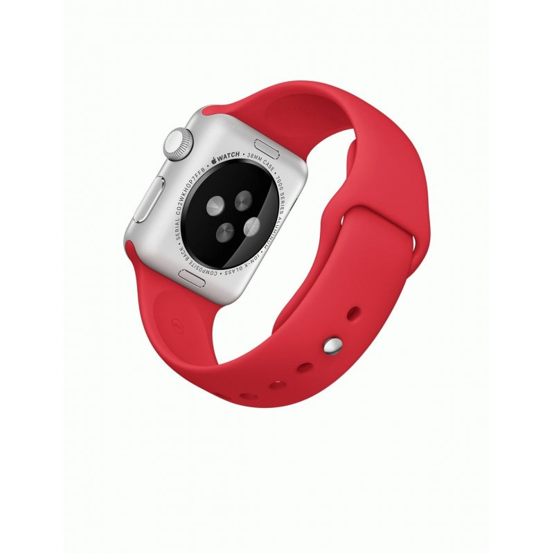 Apple Watch Sport 38mm Silver Aluminum Case with Red Sport Band (MME92)