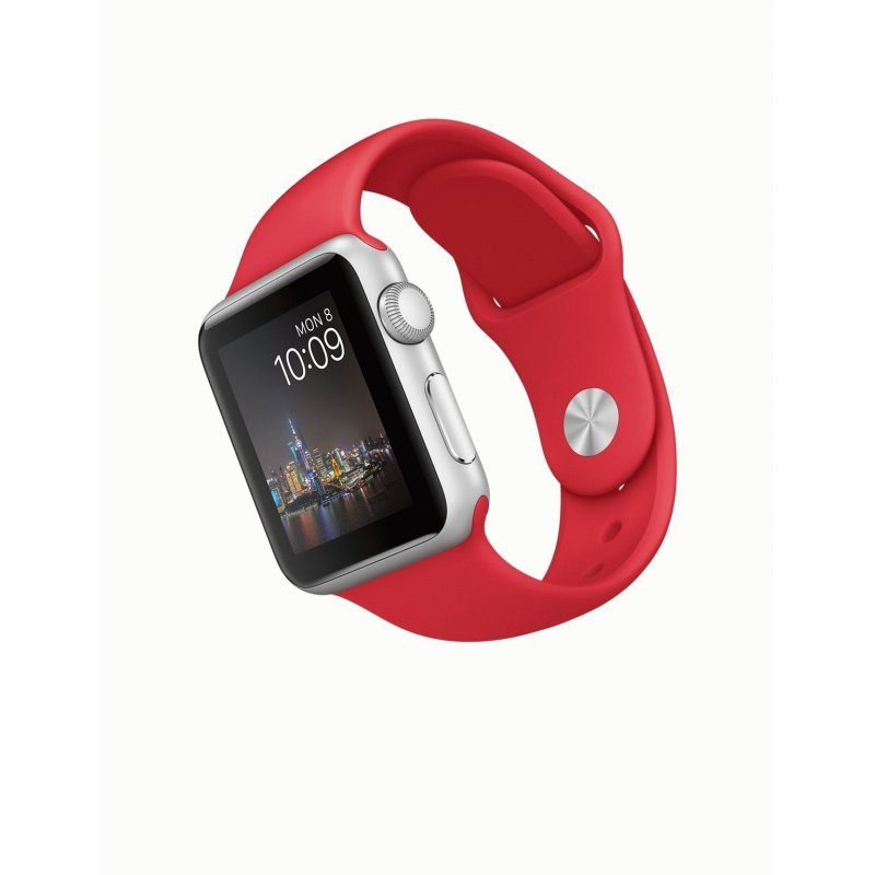 Apple Watch Sport 42mm Silver Aluminum Case with Red Sport Band (MMED2)