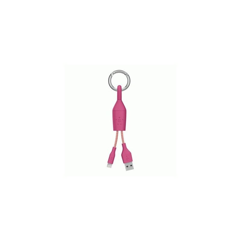 Кабель-Брелок Belkin USB 2.0 Lightning Charge Carabiner Cable MFI (Pink)