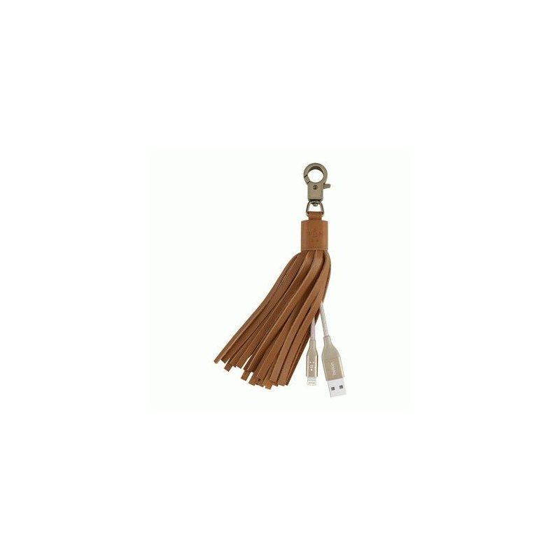 Кабель-Брелок Belkin USB 2.0 Lightning Charge Leather Tassel Cable MFI (Gold)