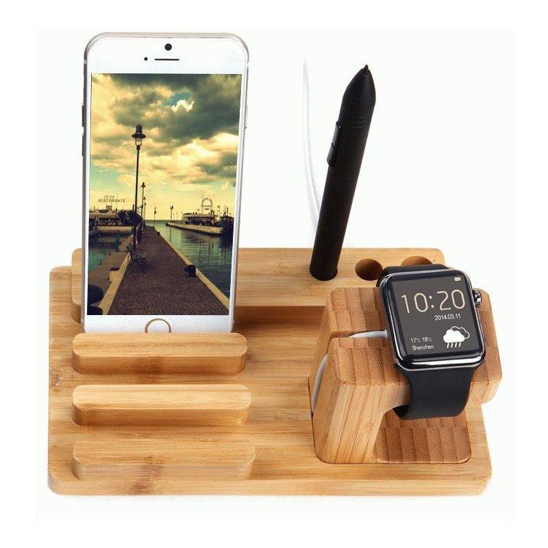 Деревянная док-станция 3 in 1 Stand для зарядки Apple Watch