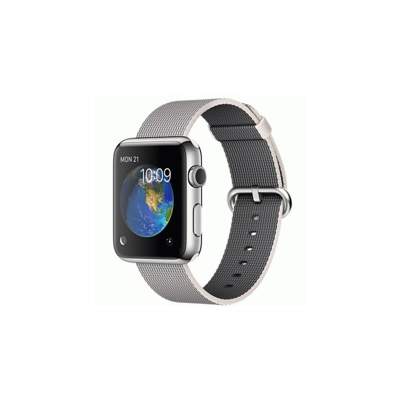 Apple Watch 42mm Stainless Steel Case with Pearl Woven Nylon (MMG02)