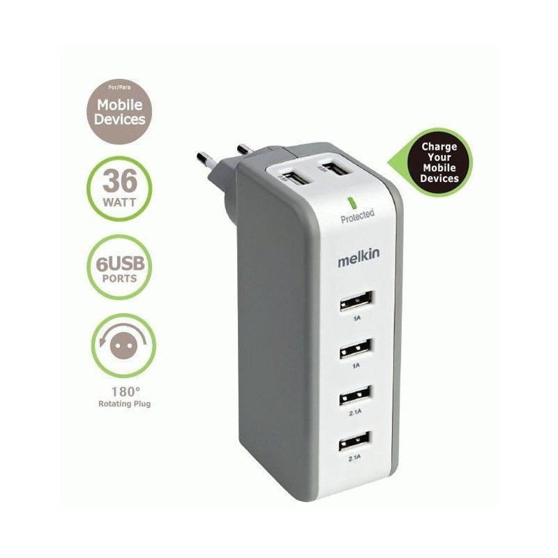 Сетевое зарядное устройство Melkin 6-port Home Changer (M8J301E) White