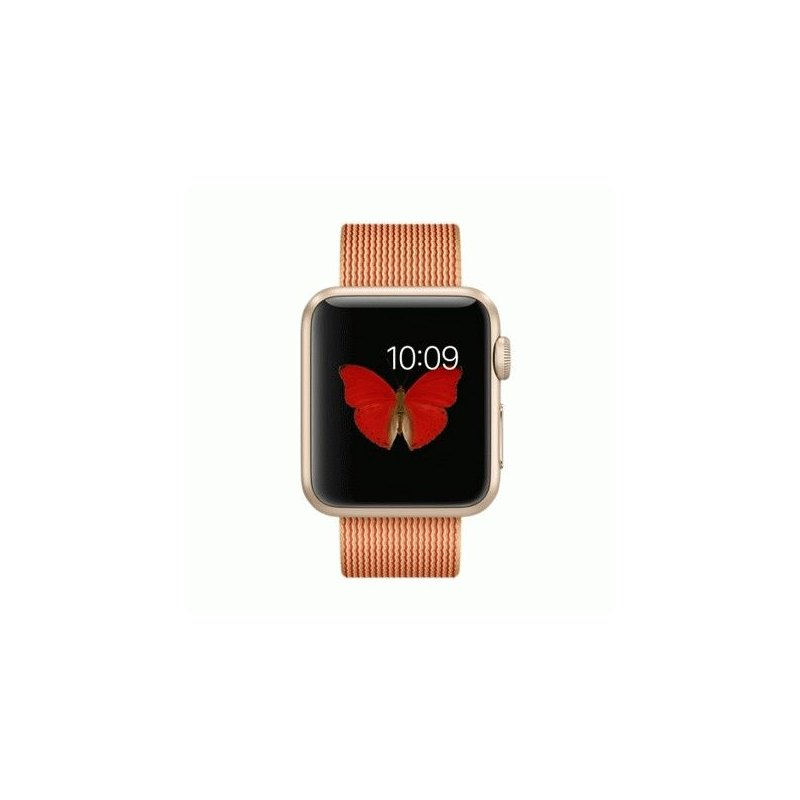 Apple Watch Sport 38mm Gold Aluminum Case with Gold/Red Woven Nylon (MMF52)