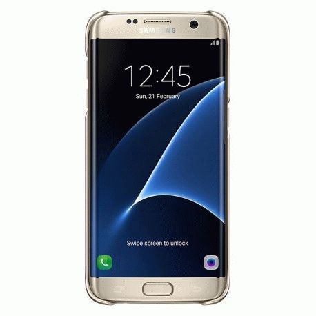 Чехол Clear Cover для Samsung Galaxy S7 Edge G935 Gold (EF-QG935CFEGRU)