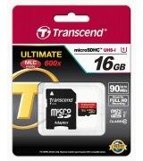Карта памяти Transcend microSDHC 16GB Class 10 UHS-I UltimateX600 + SD-adapter (TS16GUSDHC10U1)