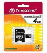 Карта памяти Transcend MicroSDHC 4GB Class 4 + SD-adapter (TS4GUSDHC4)