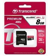 Карта памяти Transcend MicroSDHC UHS-I 8 GB Class 10 + SD-adapter (TS8GUSDU1)