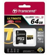 Карта памяти Transcend microSDXC 64GB Class 10 UHS-I U3 Ultimate + SD-adapter (TS64GUSDU3)
