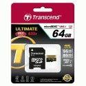 Карта памяти Transcend microSDXC 64GB Class 10 UHS-I U3 Ultimate + SD-adapter (TS64GUSDU3)