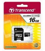 Карта памяти Transcend MicroSDHC 16 GB Class 4 + SD-adapter (TS16GUSDHC4)