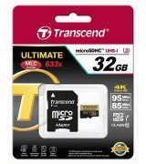 Карта памяти Transcend microSDHC 32GB Class 10 UHS-I U3 Ultimate + SD-adapter (TS32GUSDU3)