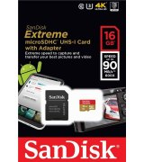 Карта памяти SanDisk microSDHC 16GB Extreme Class10 UHS-I (SDSQXNE-016G-GN6MA)