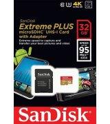 Карта памяти SanDisk Extreme Plus microSDHC 32GB Class 10 UHS-I + SD-adapter (SDSQXSG-032G-GN6MA)