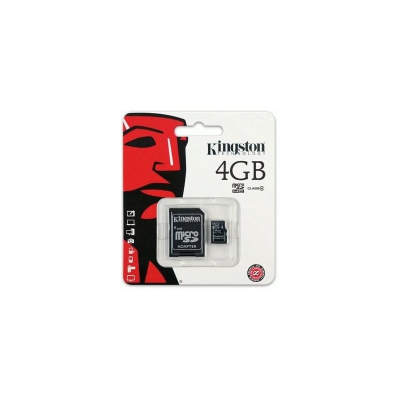 Карта памяти Kingston MicroSDHC 4GB Class 4 + SD адаптер (SDC4/4GB)