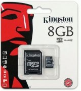 Карта памяти Kingston MicroSDHC 8GB Class 4 + SD адаптер (SDC4/8GB)