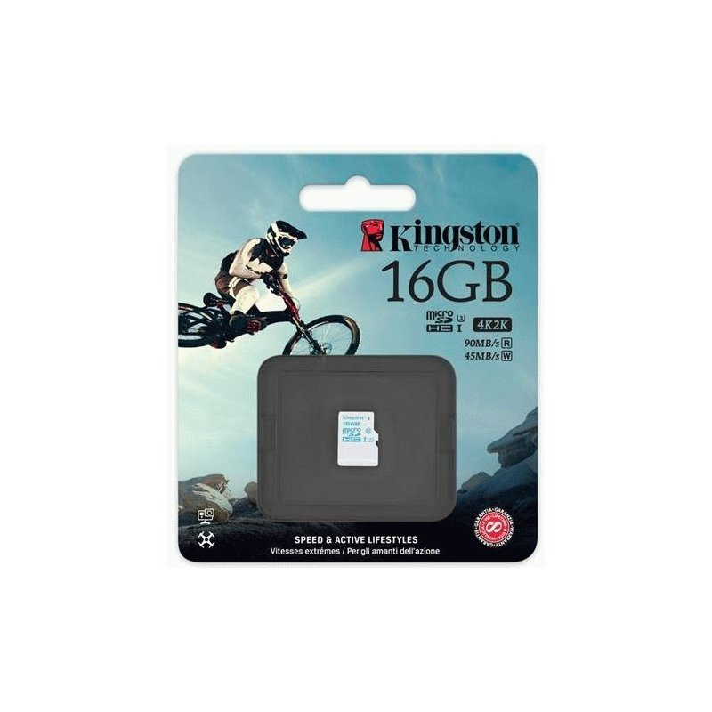 Карта памяти Kingston MicroSDHC 16GB Action Camera Class 10 UHS-I U3 (SDCAC/16GBSP)