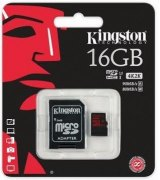 Карта памяти Kingston MicroSDHC 16GB Class 10 UHS-I U3 + SD-adapter (SDCA3/16GB)