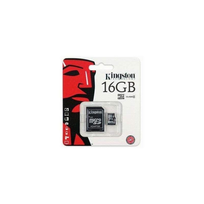 Карта памяти Kingston MicroSD 16GB Class 4 + SD-adapter (SDC4/16GB)