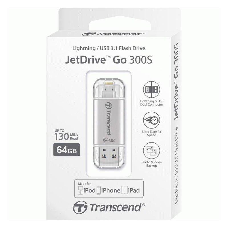 Накопитель Transcend JetDrive Go 300 USB / Lightning 64GB Silver (TS64GJDG300S)