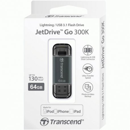 Накопитель Transcend JetDrive Go 300 USB / Lightning 64GB Black (TS64GJDG300K)