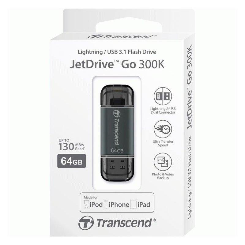 Накопитель Transcend JetDrive Go 300 USB / Lightning 64GB Black (TS64GJDG300K)