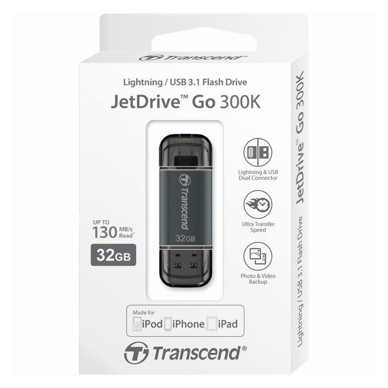 Накопитель Transcend JetDrive Go 300 USB / Lightning 32GB Black (TS32GJDG300K)