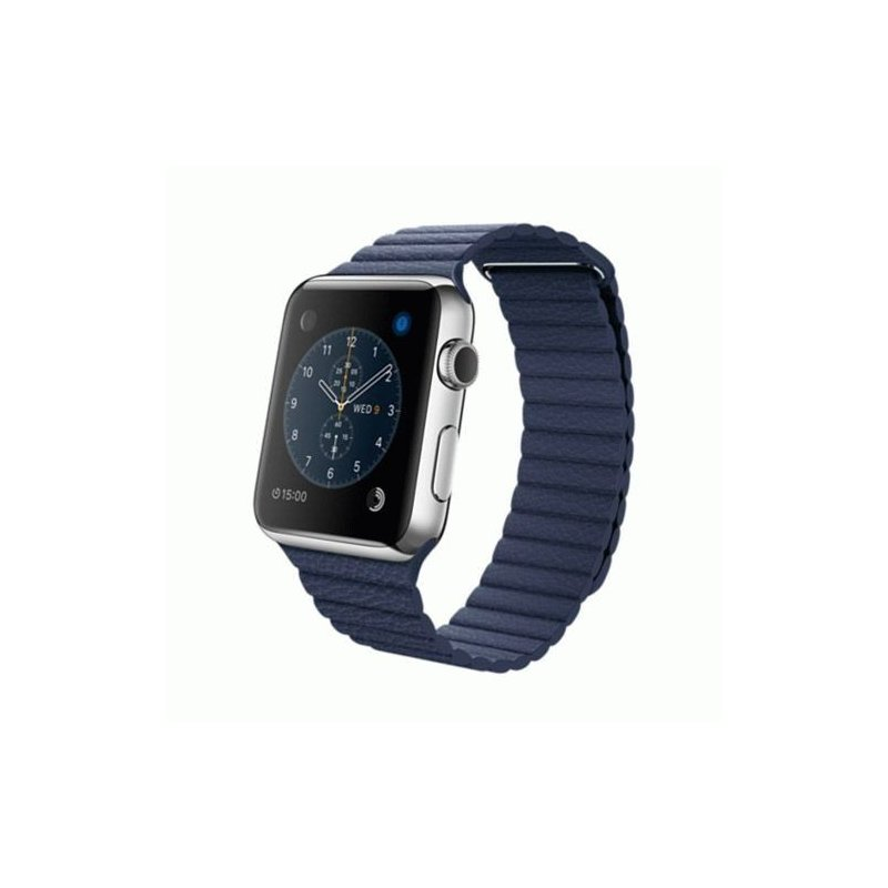 Apple Watch 42mm Stainless Steel Case with Midnight Blue Leather Loop Size L (MLFD2)