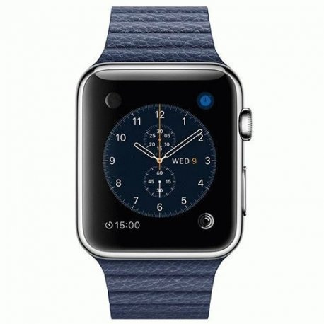 Apple Watch 42mm Stainless Steel Case with Midnight Blue Leather Loop Size M (MLFC2)