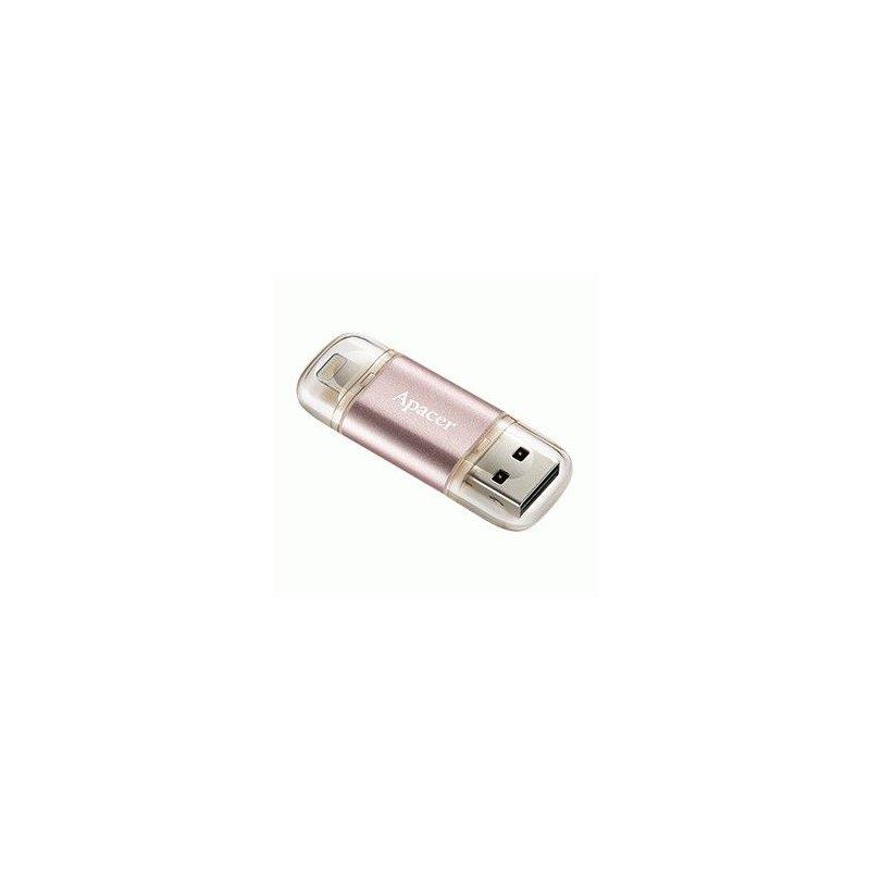 Накопитель Apacer Dual AH190 USB 3.1 / Lightning 64GB Rose Gold (AP64GAH190H-1)