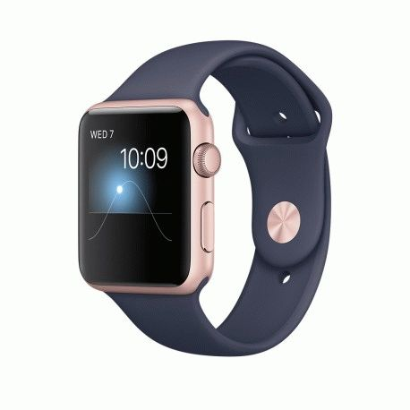Apple Watch Series 2 42mm Rose Gold Aluminum Case with Midnight Blue Sport Band (MNPL2)
