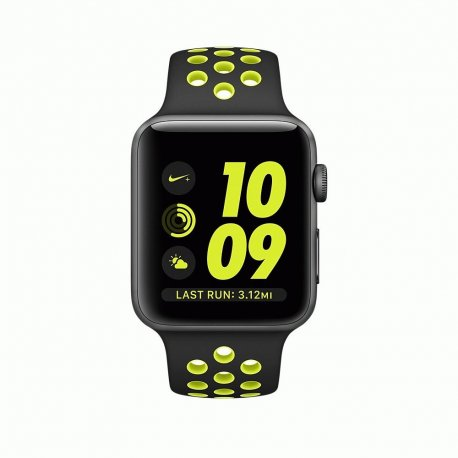 Apple Watch Series 2 42mm Space Gray Aluminum Case with Black/Volt Nike Sport Band (MP0A2)
