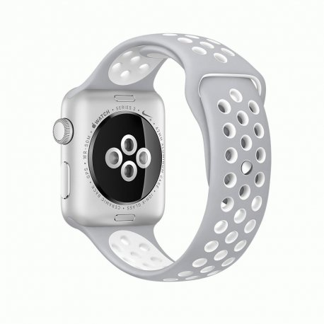 Apple Watch Series 2 42mm Silver Aluminum Case with Flat Silver/White Nike Sport Band (MNNT2)