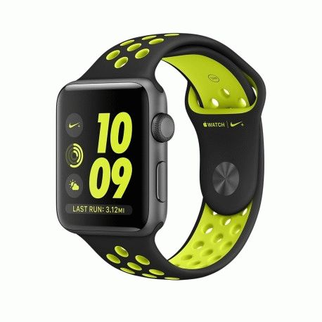 Apple Watch Series 2 38mm Space Gray Aluminum Case with Black/Volt Nike Sport Band (MP082)