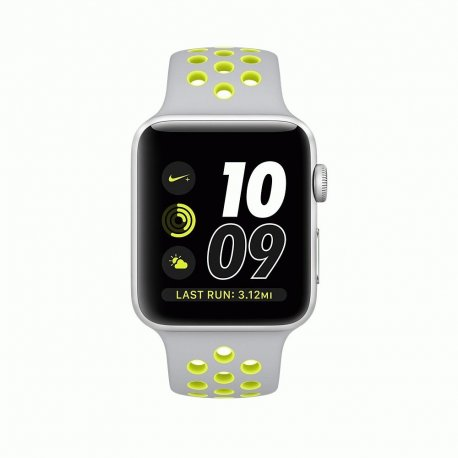 Apple Watch Series 2 38mm Silver Aluminum Case with Flat Silver/Volt Nike Sport Band (MNYP2)