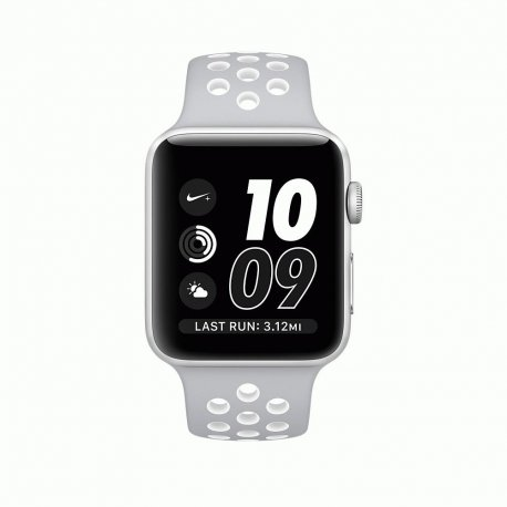 Apple Watch Series 2 38mm Silver Aluminum Case with Flat Silver/White Nike Sport Band (MNNQ2)