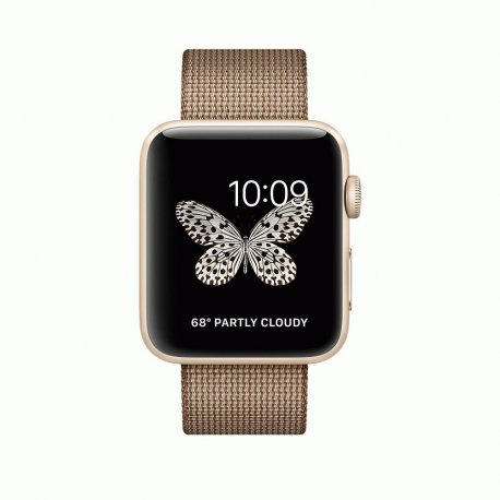 Apple Watch Series 2 42mm Gold Aluminum Case with Toasted Coffee/Caramel Woven Nylon (MNPP2)