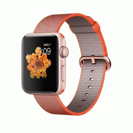 Apple Watch Series 2 42mm Rose Gold Aluminum Case with Space Orange/Anthracite Woven Nylon (MNPM2)