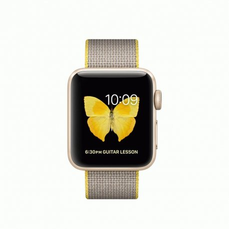 Apple Watch Series 2 38mm Gold Aluminum Case with Yellow/Light Gray Woven Nylon (MNP32)