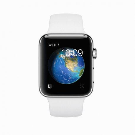 Apple Watch Series 2 42mm Stainless Steel Case with White Sport Band (MNPR2)