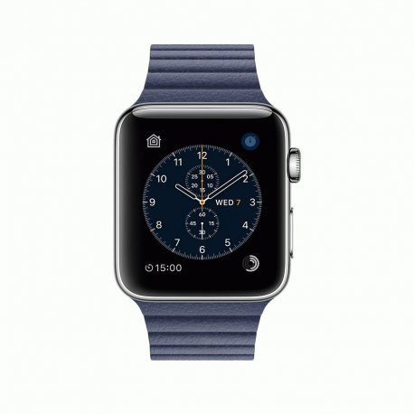 Apple Watch Series 2 42mm Stainless Steel Case with Midnight Blue Leather Loop (MNPW2)